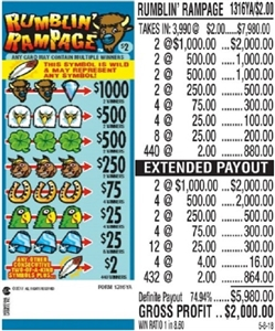 *$1000 TOP - Form # 1316YA Rumblin' Rampage $2.00 Ticket