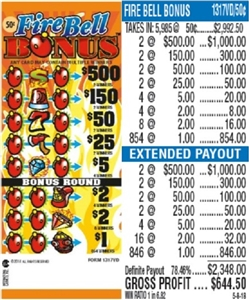 $500 TOP - Form # 1317VD Fire Bell Bonus 50 Cent Ticket
