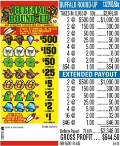 $500 TOP - Form # 1320VD Buffalo Round-Up 50 Cent Ticket