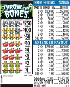 $250 TOP - Form # 1331UG Throw The Bones 50 Cent Ticket