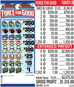 $350 TOP - Form # 1358UP Force For Good $1.00 Ticket
