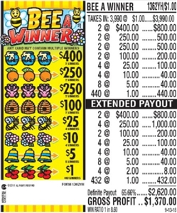 $400 TOP - Form # 1362YH Bee A Winner $1.00 Ticket