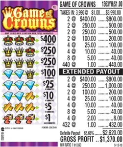 $400 TOP - Form # 1363YH Game Of Crowns $1.00 Ticket