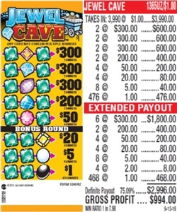 $300 TOP - Form # 1365UZ Jewel Cave $1.00 Ticket