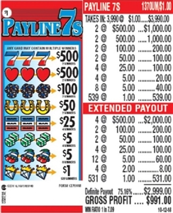 $500 TOP - Form # 1370UM  Payline 7's $1.00 Ticket