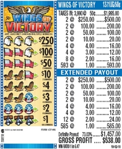 $250 TOP - Form # 1371UG Wings Of Victory 50 Cent Ticket