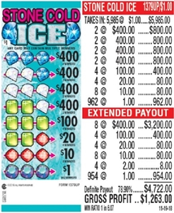 $400 TOP - Form # 1379UP Stone Cold Ice $1.00 Ticket