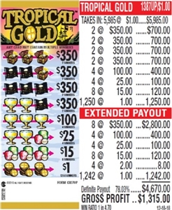 $350 TOP - Form # 1387UP Tropical Gold $1.00 Ticket