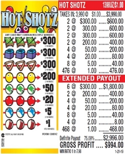 $300 TOP - Form # 1398UZ Hot Shotz $1.00 Ticket