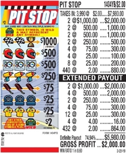 *$1000 TOP - Form # 1404YB Pit Stop $2.00 Ticket