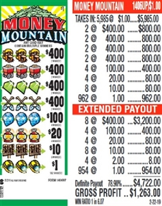 $400 TOP - Form # 1406UP Money Mountain $1.00 Ticket