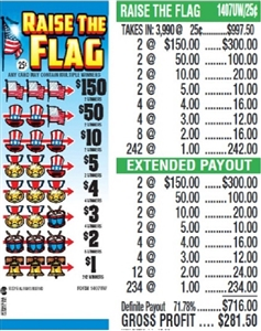 $150 TOP - Form # 1407UW Raise The Flag 25 Cent Ticket