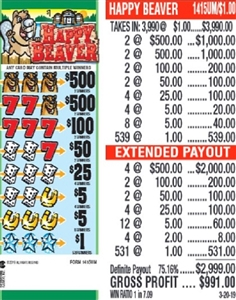 $500 TOP - Form # 1415UM  Happy Beaver $1.00 Ticket