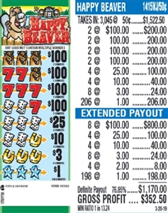 $100 TOP - Form # 1415VJ Happy Beaver 50 Cent Ticket