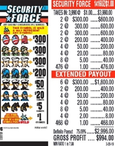 $300 TOP - Form # 1416UZ Security Force $1.00 Ticket