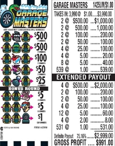 $500 TOP - Form # 1425UM Garage Masters $1.00 Ticket