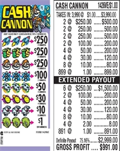$250 TOP - Form # 1426VE Cash Cannon $1.00 Ticket