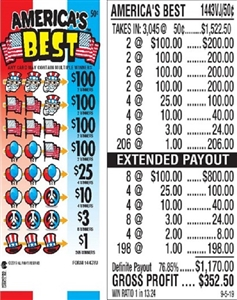 $100 TOP - Form # 1443VJ America's Best 50 Cent Ticket