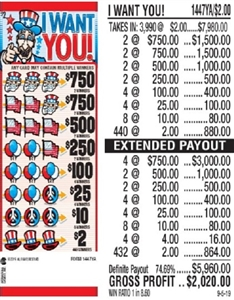 $750 TOP - Form # 1447YA I Want You! $2.00 Ticket