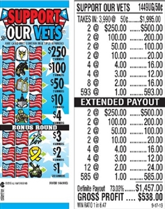 $250 TOP - Form # 1449UG Support Our Vets 50 Cent Ticket