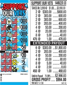 $300 TOP - Form # 1449UZ Support Our Vets $1.00 Ticket
