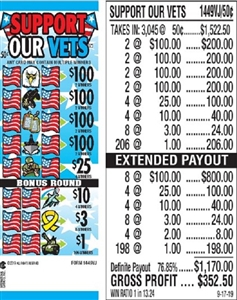 $100 TOP - Form # 1449VJ Support Our Vets 50 Cent Ticket