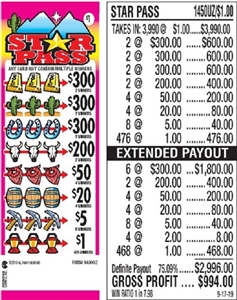 $300 TOP - Form # 1450UZ Star Pass $1.00 Ticket