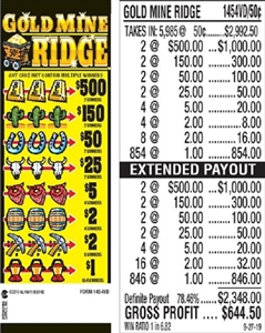 $500 TOP - Form # 1454VD Gold Mine Ridge 50 Cent Ticket