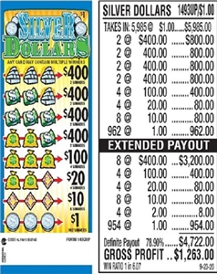 $400 TOP - Form # 1493UP Silver Dollars $1.00 Ticket