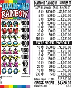 $500 TOP - Form # 1496VM Diamond Rainbow $5.00 Ticket