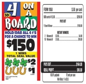 1B58 4 On A Board $0.50 Bingo Event Ticket