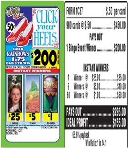 1C37 Click Your Heels $0.50 Bingo Event Ticket