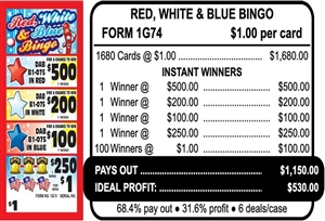 $500 TOP - Form # 1G74 Red, White, & Blue Bingo $1.00 Bingo Event Ticket