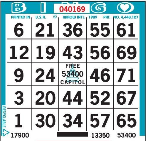 1 ON Bingo Paper
