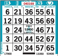 1 ON Bingo Paper - BULK - 9,000 Sheets