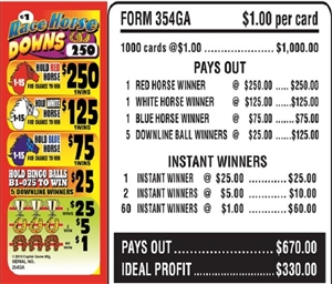 354GA Race Horse Downs $1.00 Bingo Event Ticket