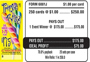$175 TOP - Form # 6081J Triple Twist $1.00 Bingo Event Ticket