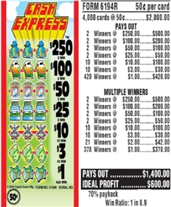 $250 TOP - Form # 6194R Cash Express 50 Cent Ticket