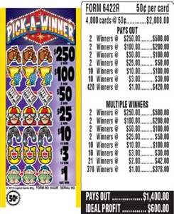 $250 TOP - Form # 6422R Pick-A-Winner 50 Cent Ticket