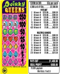 $250 TOP - Form # 6470R Quirky Queens 50 Cent Ticket