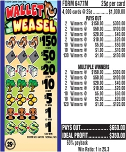 $150 TOP - Form # 6477M Wallet Weasel 25 Cent Ticket