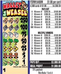 $250 TOP - Form # 6480M Wallet Weasel $1.00 Ticket