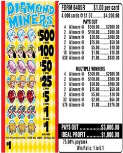 $500 TOP - Form # 6485R Diamond Miners $1.00 Ticket