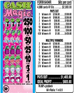 $250 TOP - Form # 6494R Cash Magic 50 Cent Ticket