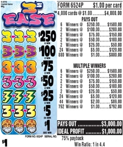 $250 TOP - Form # 6524P 3's Ease $1.00 Ticket
