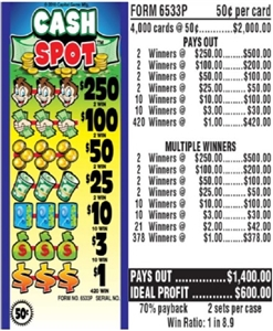 $250 TOP - Form # 6533P Cash Spot 50 Cent Ticket