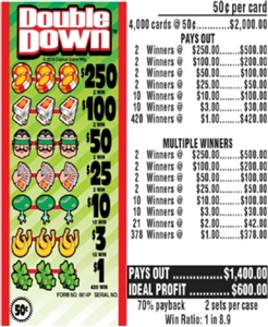 $250 TOP - Form # 6614P Double Down 50 Cent Ticket