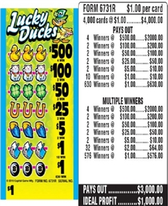 $500 TOP - Form # 6731R Lucky Ducks $1.00 Ticket