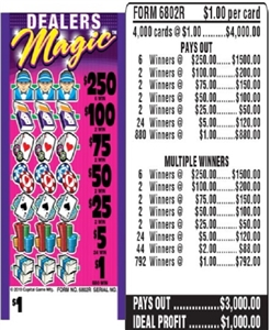 $250 TOP - Form # 6802R Dealers Magic $1.00 Ticket