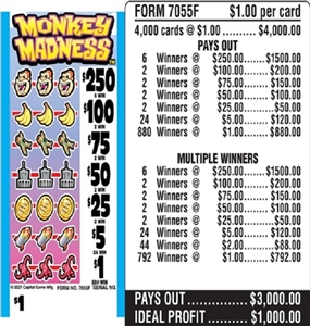 $250 TOP - Form # 7055F Monkey Madness $1.00 Ticket